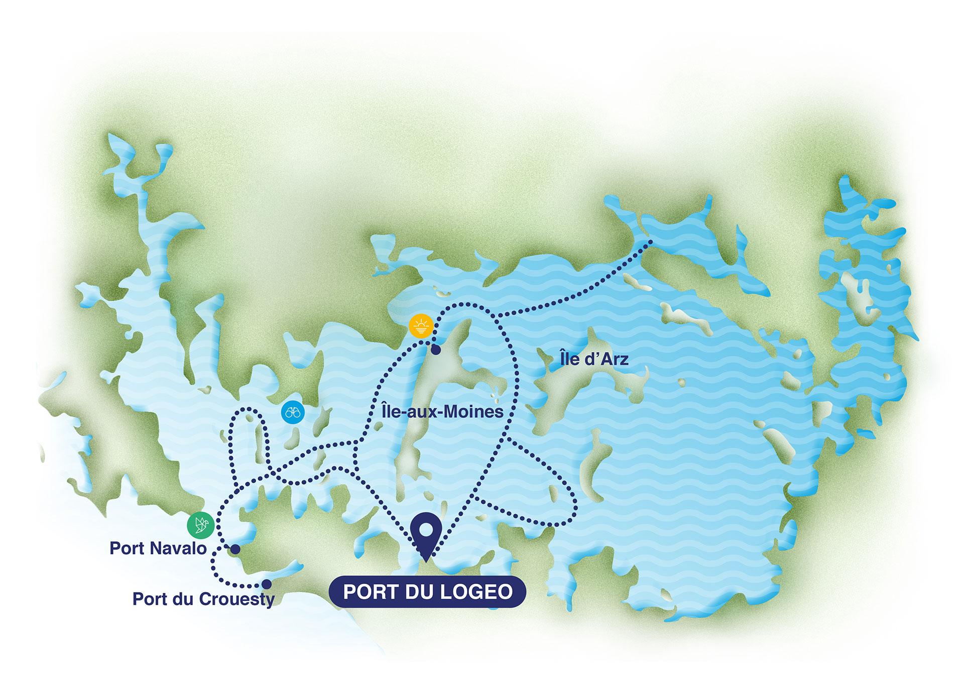 Carte de navigation dans les iles du Golfe du Morbihan - TCH-ILES croisières